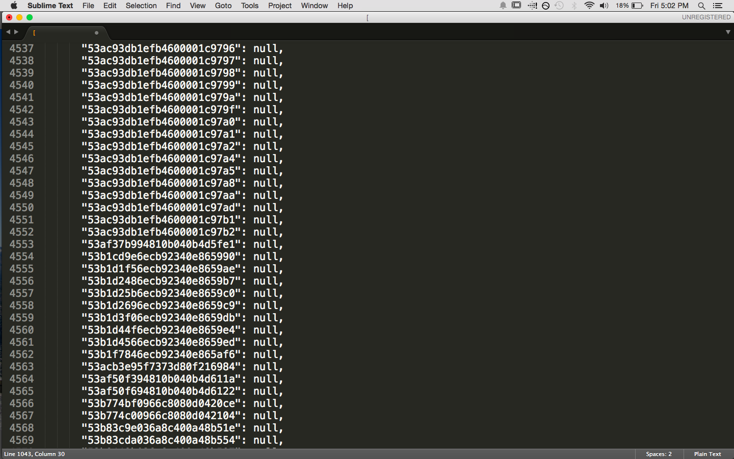 5000 lines of code in sublime text editor